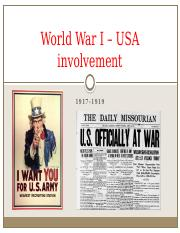 World War I – USA involvement