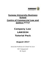Company Law Tutorial  Student Pack .docx