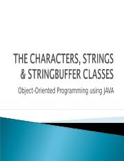 Character, String & Stringbuffer Classes (ch7)