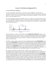 Lecture 2: The Electrocardiogram (ECG)  Notes 2014
