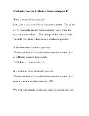 Topic 3 Stochastic Processes and Markov Chians