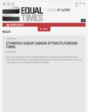 Ethiopia's cheap labour attracts foreign firms - Equal Times