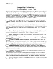 Outlining your Lesson Plan
