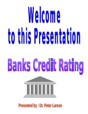 Banks Credit Rating