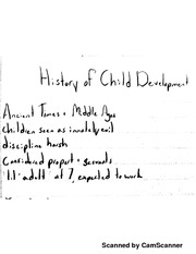 Developmental Psych - History of Child Development Part I Lecture Notes