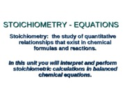 Unit 7 Stoichiometry equations
