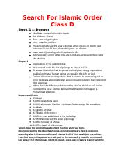 Search For Islamic Order Class Notes D