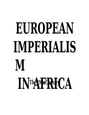 4 - European Imperialism in Africa in the 19th Century