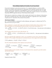 WRK- Empirical and Molecular Formula Worksheet - Empirical and ...