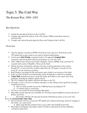 The Korean War Overview Notes