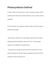 Photosynthesis Defined