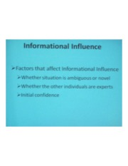 PSYCH 360 Social Psychology - Informational Influence