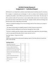 HC2022 Marketing Research Assignment 1-Individual Report.docx