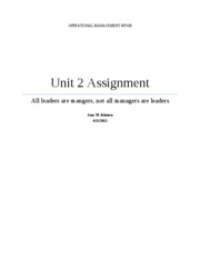 AmyJohnson75_MT435 Operations Management_Unit 2 Assignment