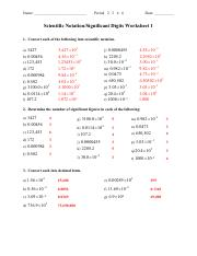 4 Sig Figs & Scientific Notation - Significant Figures Worksheet 1 ...