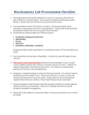 Biochemistry Presentation Checklist and Rubric