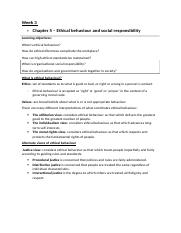 Week 3- Ethical behaviour and social responsibility .docx