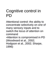 Cognitive control in PD