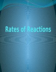 Rates of Reactions 2014
