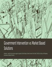Government Intervention vs Market Based Solutions