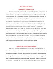 RES342 week 4 Team Assignment Nonparametric Hypothesis Testing Paper