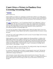 Court Gives a Victory to Pandora Over Licensing Streaming Music.doc