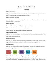 Marketing Test 1 Review Sheet