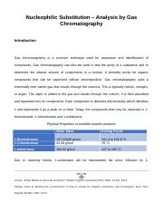 Experiment 5 - Nucleophilic Substitution – Analysis by Gas Chromatography.docx