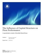 The Influence of Capital Structure on Firm performance_the quantitative study of Swedish listed firm