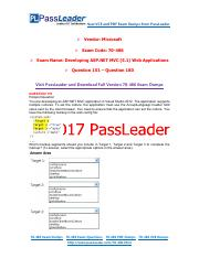 2017 PassLeader 70-486 Dumps with VCE and PDF (Question 151 - Question 180)