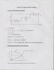 Lesson 10. Pumps & Pipe Systems