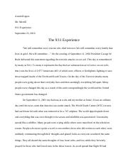 9/11 Essay/ Honors/ Honors English 101