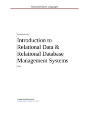 Introduction to Relational Data and Relational Database Management Systems