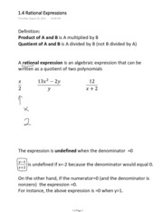1.4 Rational Expressions