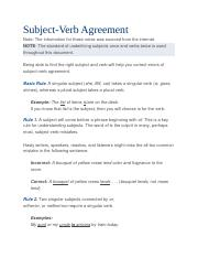 Subject & Verb Agreement