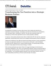 Transforming the Tax Function into a Strategic Business Partner WSJ 081816