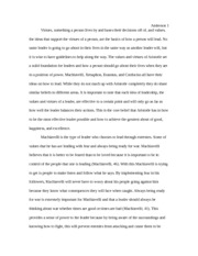 Leadership Values and Virtues Final Paper
