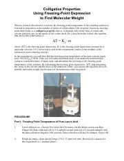 a lab experiment to determine the molar mass of a solute from the freezing point depression of a sol This example problem demonstrates how to calculate freezing point depression or their mass when a solute is added to a solvent, its freezing point is lowered.