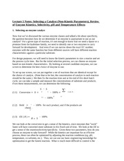 Lecture 5 Notes Selecting a Catalyst