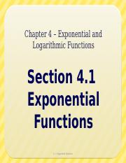 4.1 - Exponential Functions