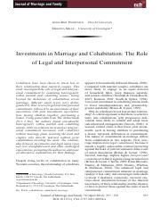 Investments in marriage and cohabitation article