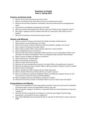 Questions to Ponder Exam 2 2014 Spring