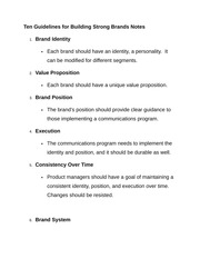 Ten Guidelines for Building Strong Brands Notes