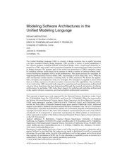 ModelingsoftwarearchitecturesintheUnifiedModelingLanguage