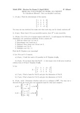 Exam 3 Review on Linear Algebra