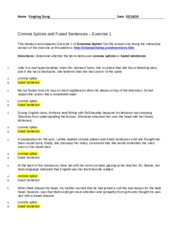 Comma Splices & Fused sentences section exercise 1