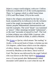 Islam is the religion articulated by the Qur.docx