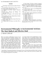 Callicott - Environmental Philosophy is Environmental Activism