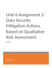 Unit 6 Assignment 2 - Data Security Mitigation Actions Based on Qualitative Risk Assessment