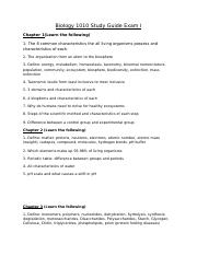 Biology 1010 Study Guide Exam I-3